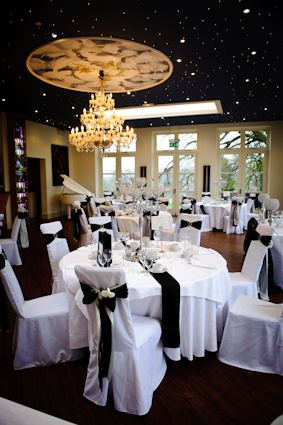 The Orangery was decorated in a black and white theme