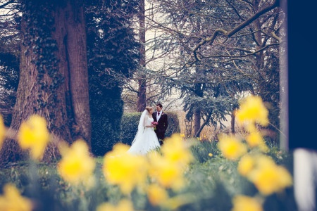 Gareth &Laura among the daffodils at Shottle Hall