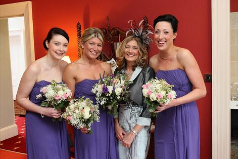 The three bridesmaids and Nikki's mum