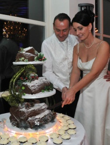 The couple opted for chocolate logs instead of a traditional wedding cake.