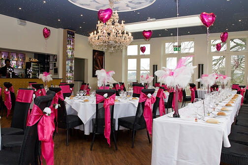 The cerise pink theme looked splendid in The Orangery