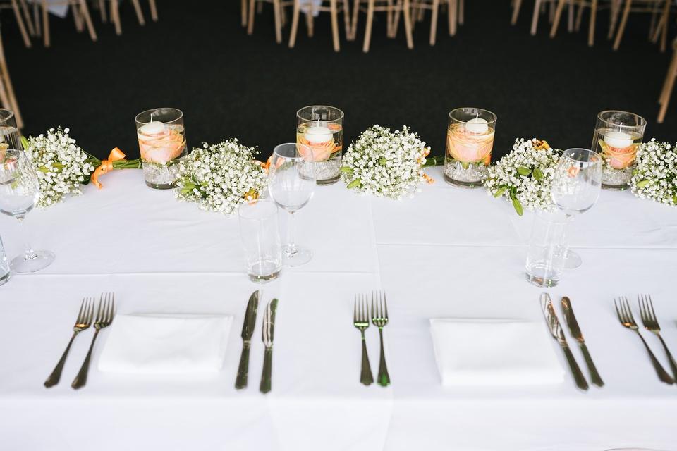 peach & orange top table