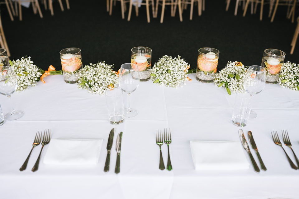 peach & orange top table